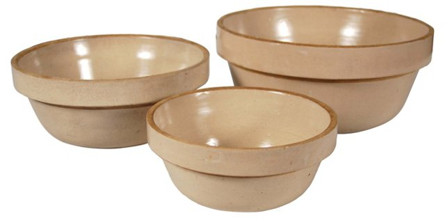 Stoneware Mixing Bowls, S/3