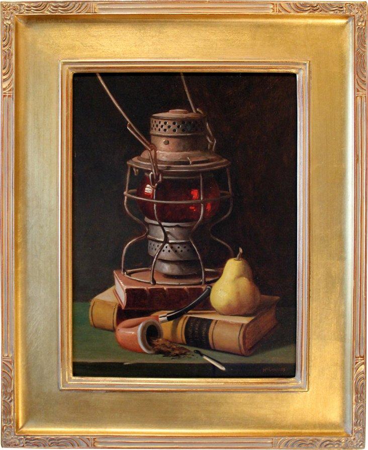 Lantern & Pear Still Life