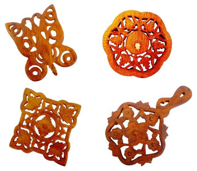 Carved Teak Trivets, Set of 4
