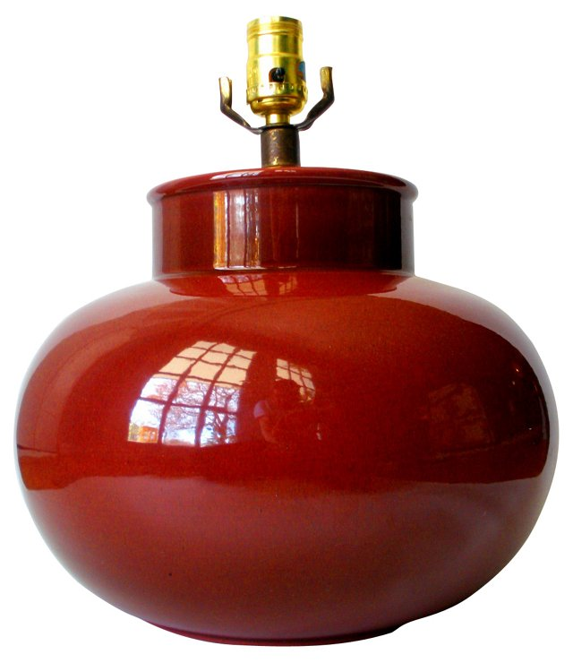 Midcentury Pottery Gourd Lamp