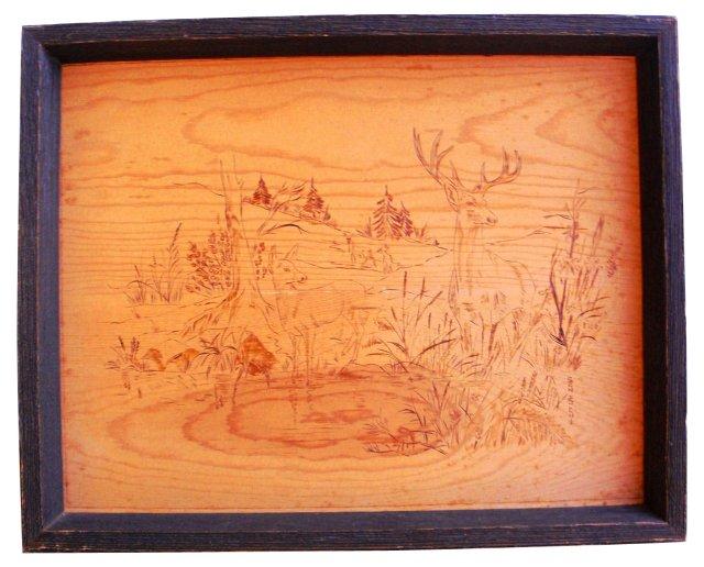 Wooden Engraved Deer Plaque