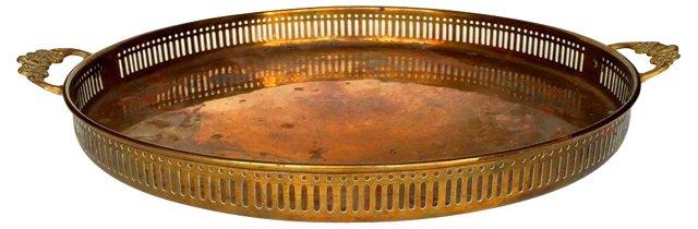 Brass    Tray w/ Floral-Motif Handles