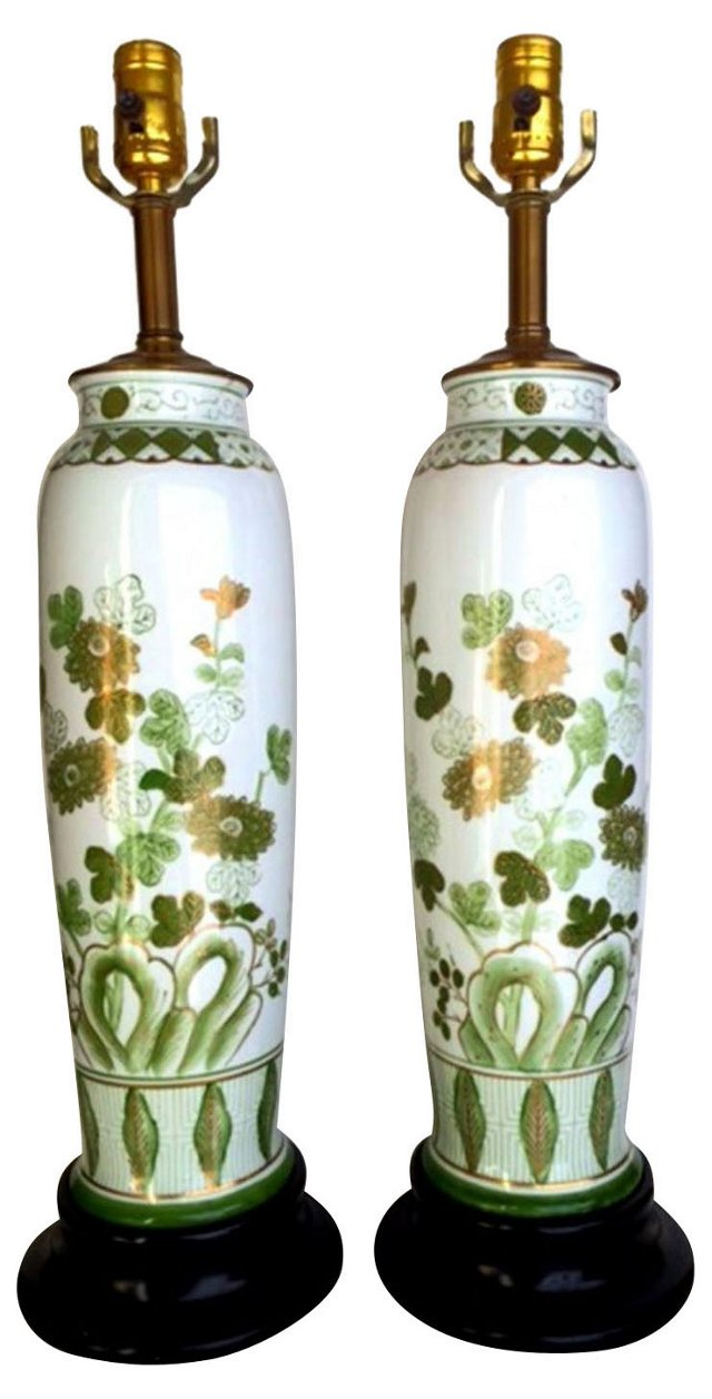 Slender Chinoiserie Lamps, Pair