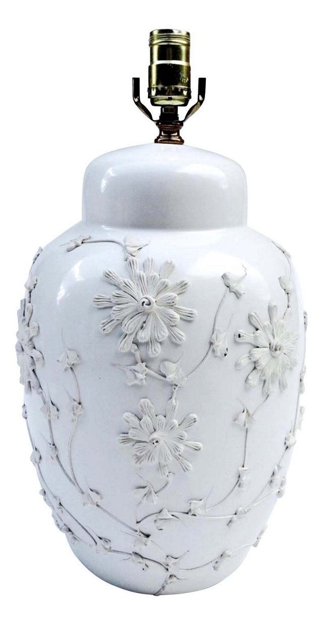 White Textured Floral Lamp