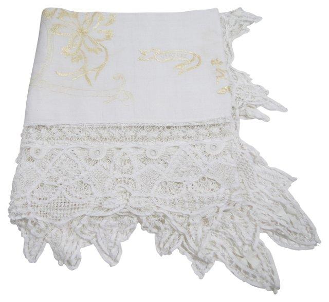 Delicate Lace Border Linen Tablecloth