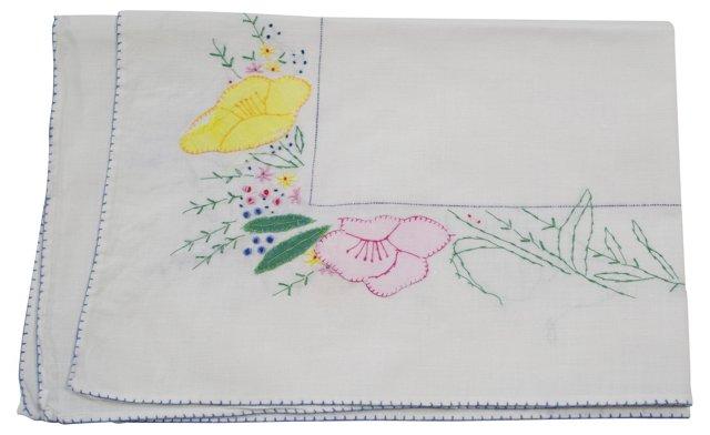 Tray Cloth w/ Multicolored Floral Motif