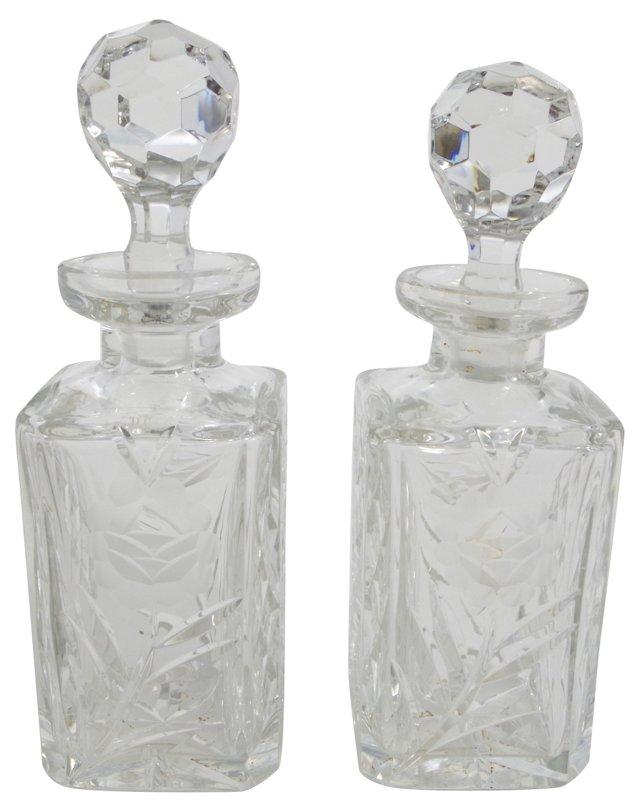 Cut-Crystal Decanters, Pair