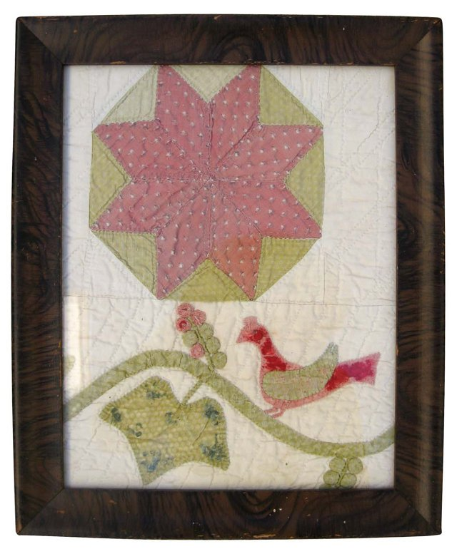 Framed Antique Quilt Fragment