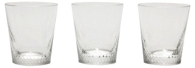 Lalique Crystal Whiskey Tumblers, S/3