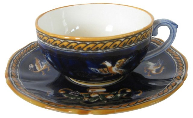 French Faience  Cup & Saucer