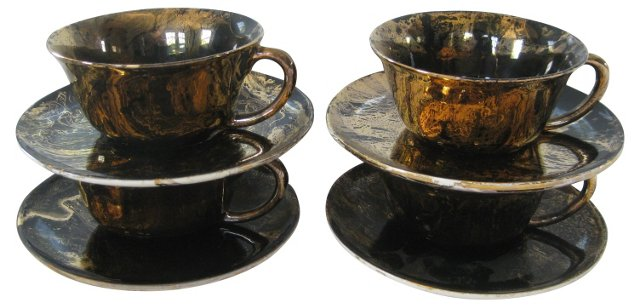Sascha Brastoff Gilt Cups & Saucers, S/4