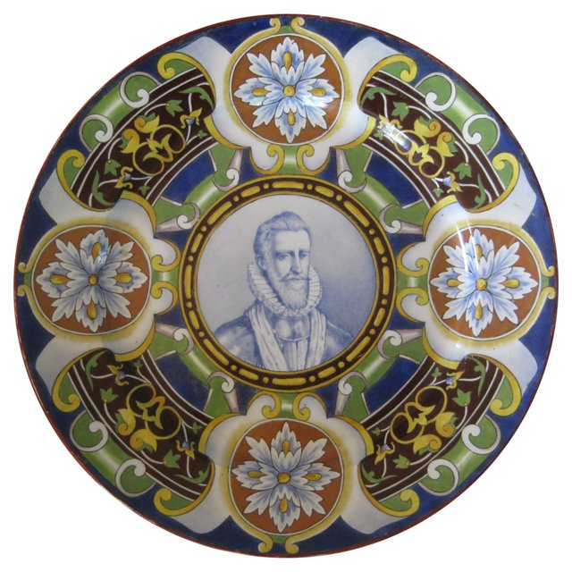 19th C. French Faience Portrait Platter
