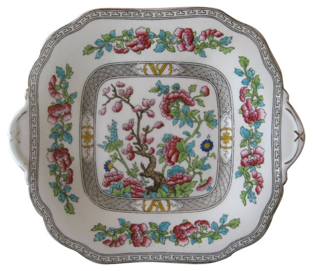 1930s English Porcelain Cake Plate