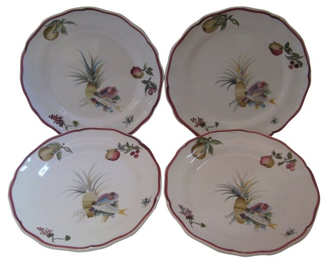 French Faience  Plates, S/4