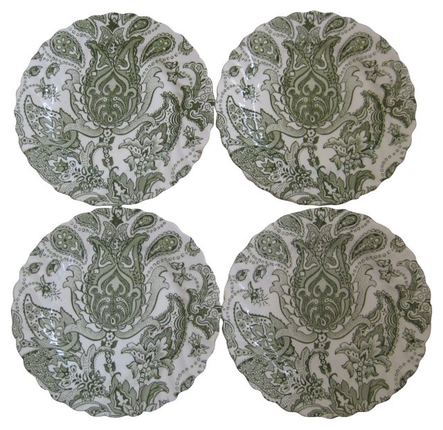 Staffordshire Paisley Canapé Plates, S/4