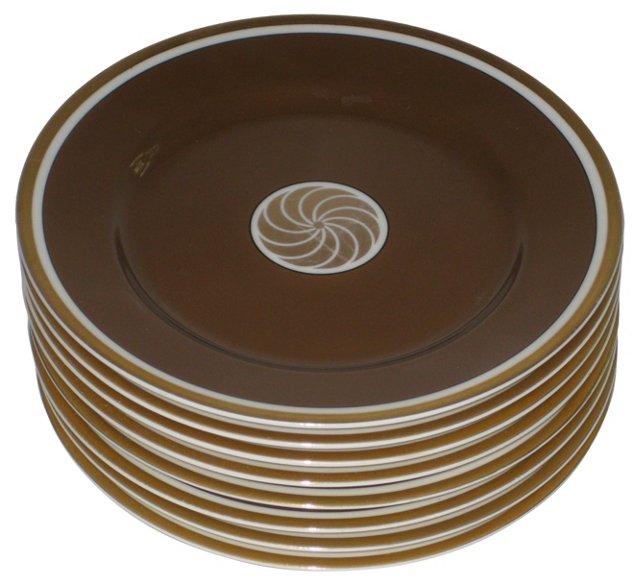 Gilt Porcelain Canapé Plates, S/8