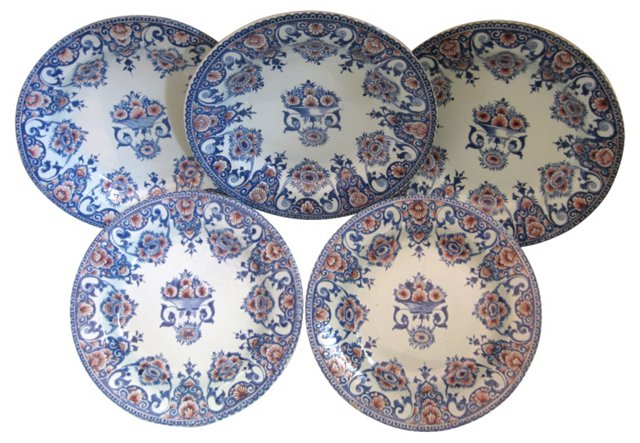 French Faience Plates, C.1875, S/5
