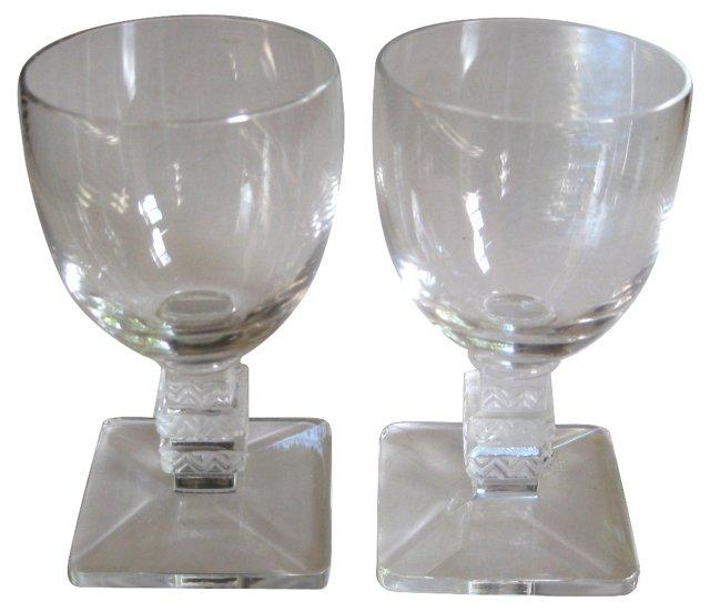 Lalique Art Deco Cordial Glasses, Pair