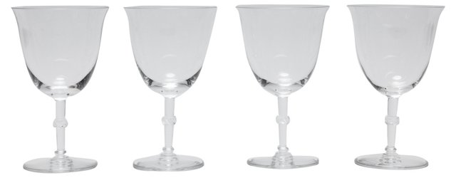 Lalique Crystal Water Goblets, S/4