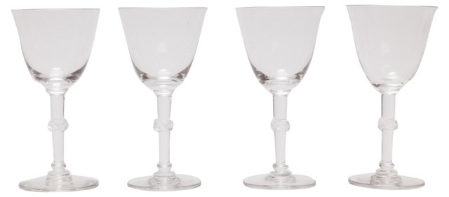 Lalique Beaugency Port Glasses, S/4