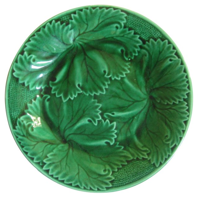 Antique French Majolica  Leaf Plate