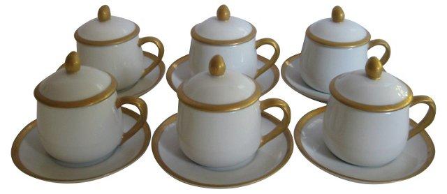 Gilded Porcelain Pots De Creme,   S/6