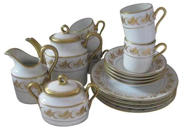 Ginori Gilded Porcelain Dessert Set
