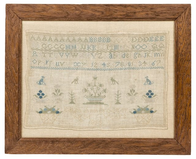 Antique Needlepoint Sampler, 1855