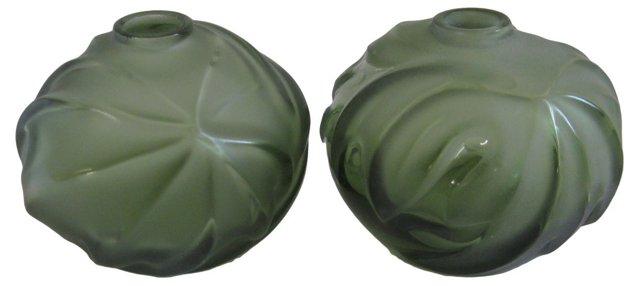 Lalique Sage Crystal Royal Palm Vases