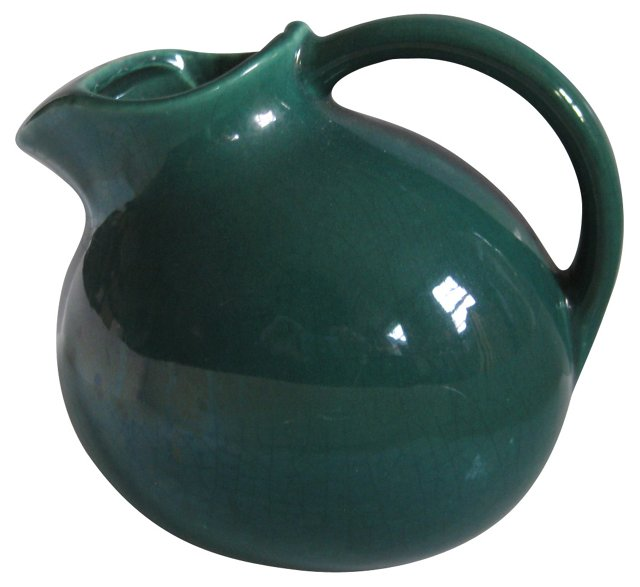 1950s Green Teal Ice Lip Pitcher