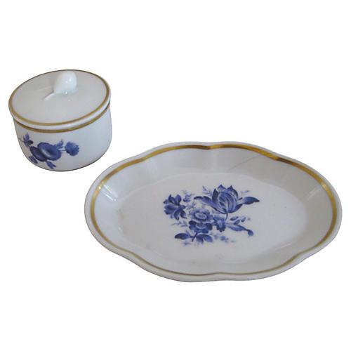 Ginori Gilt Porcelain Tray & Box
