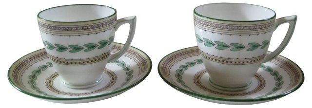 Minton English Porcelain Cups & Saucers