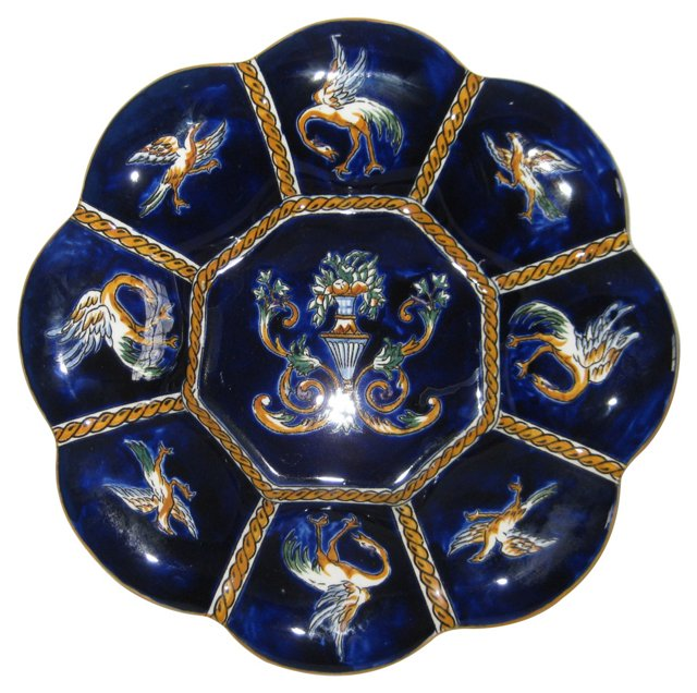 French Faience Hand-Painted Plate