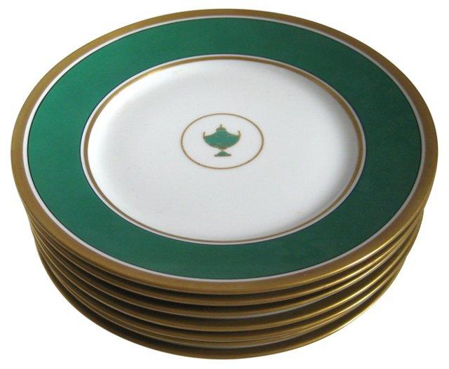 Ginori Emerald Porcelain Plates  S/7