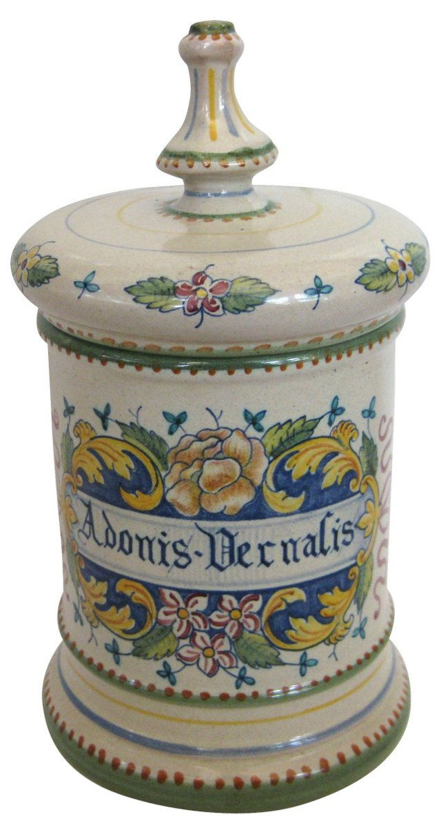Hand-Painted Deruta Adonis Canister
