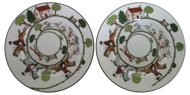Wedgwood Porcelain Hunt Plates, Pair