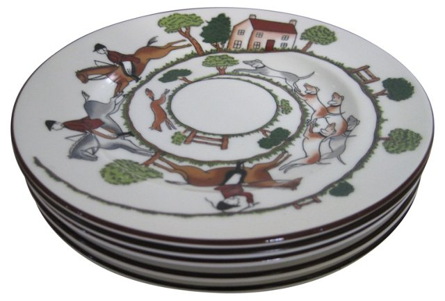English Porcelain Hunt Plates, S/5
