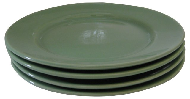 Gladding McBean Apple Green Plates, S/4