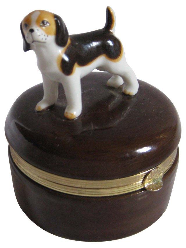 Porcelain & Ormolu  Dog Box