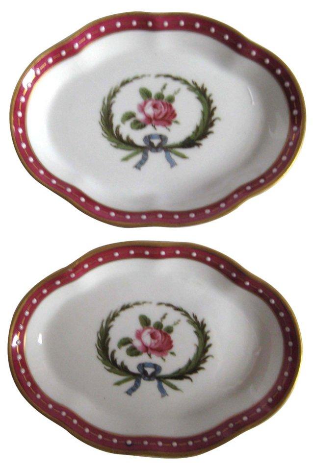Ginori Porcelain Rosebud Dishes, Pair
