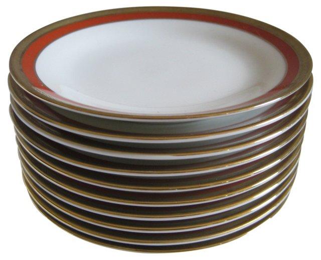 Ginori Cinnabar Porcelain Plates, S/10