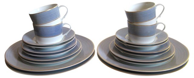 Limoges Blue Pinstripe Service for 4