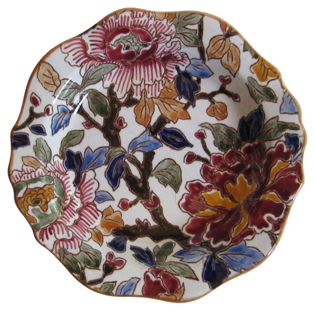 French Faience   Peonies  Dish