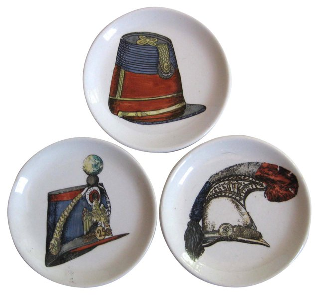 Fornasetti-Style Hat Coasters, S/3