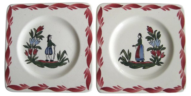 French   Faience   Plates,   Pair