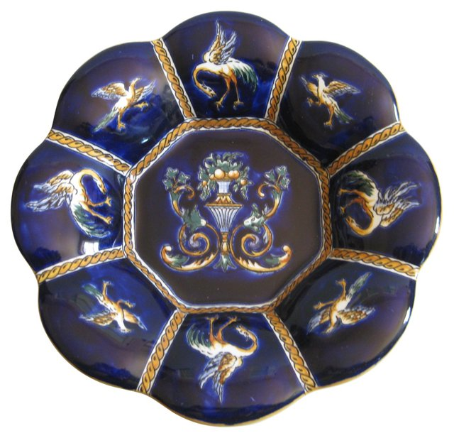 Hand-Painted French Faience  Wall  Plate