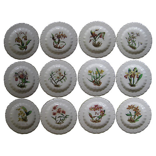Copeland Spode Orchid Plates, S/12