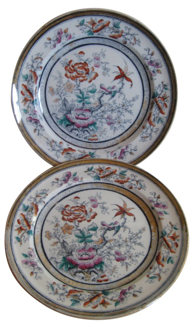 1850s English Ironstone Plates, Pair