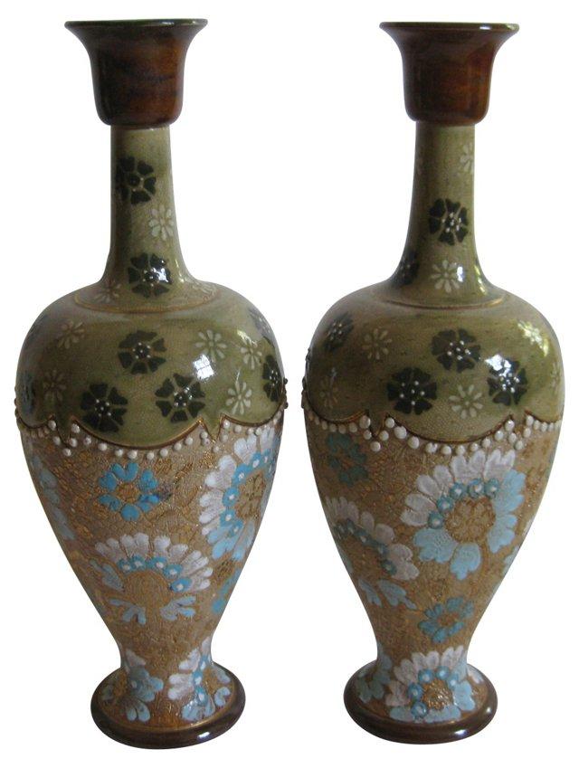 Doulton Lambeth Slater Vases,   Pair