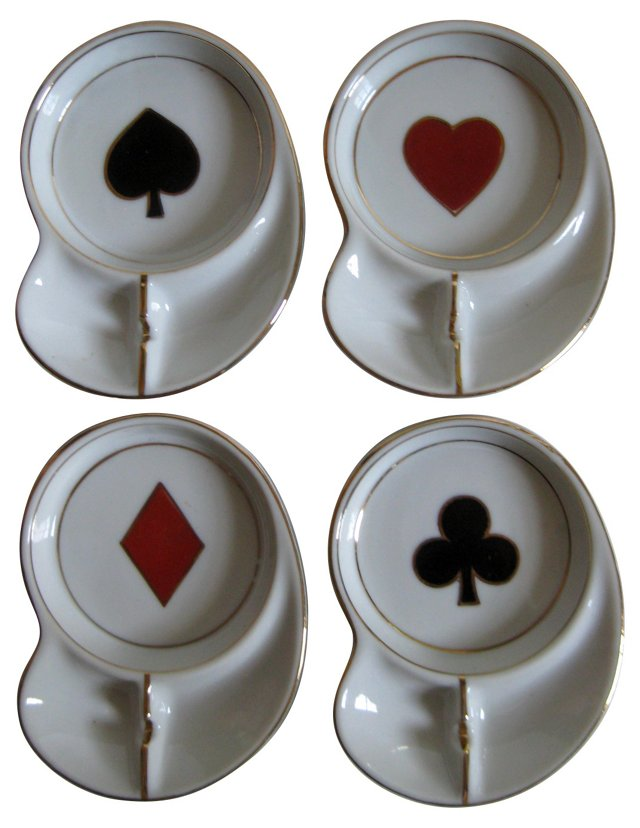Playing Card Coaster Ashtrays, S/4